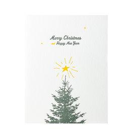 Lark Press Merry Christmas Tree Letterpress Cards Box of 6