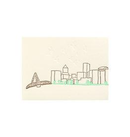 Lark Press Portland Skyline Letterpress Card