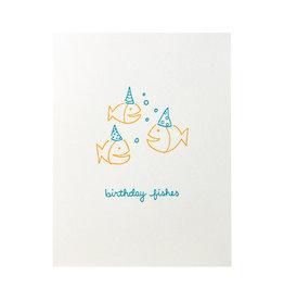 Albertine Press Birthday Fishes Letterpress Card