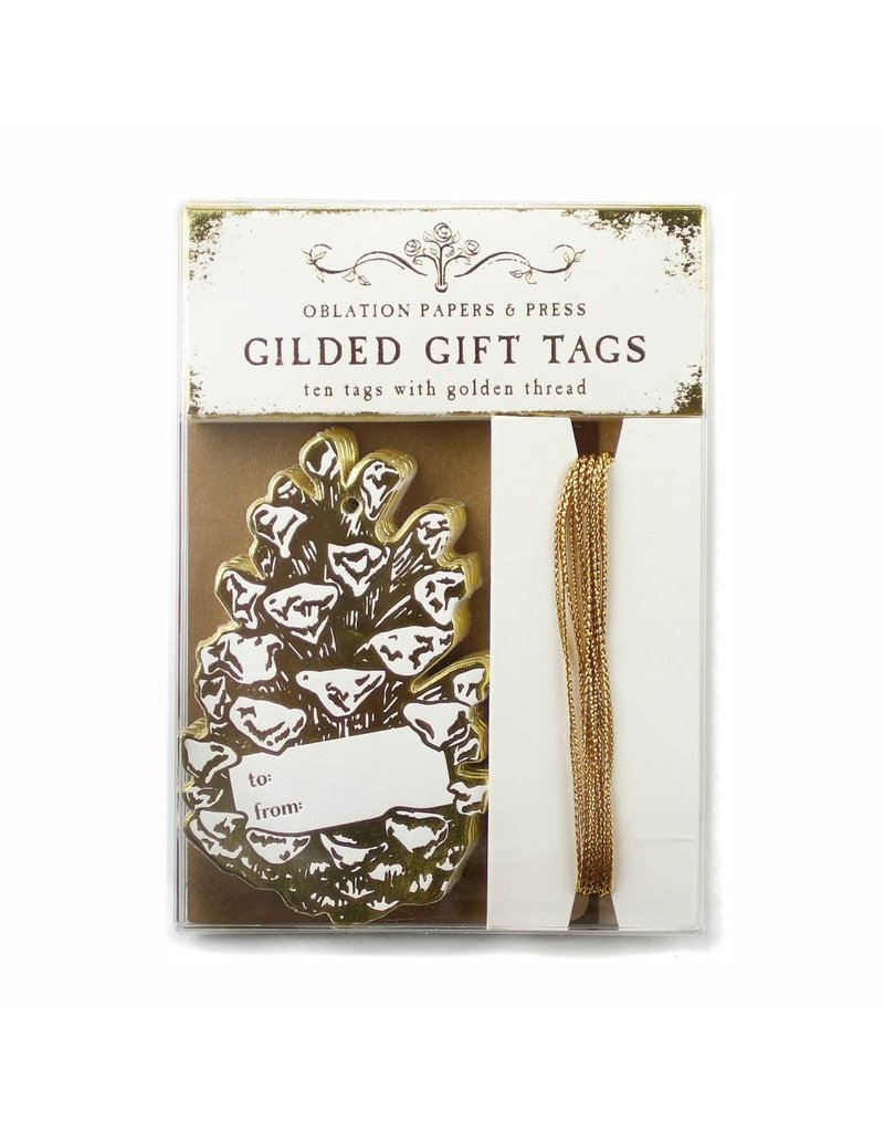 Oblation Papers & Press gilded gift tags - pinecone