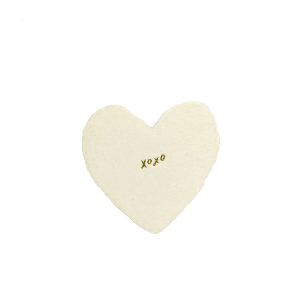 Oblation Papers & Press XOXO foiled handmade petite heart in cream