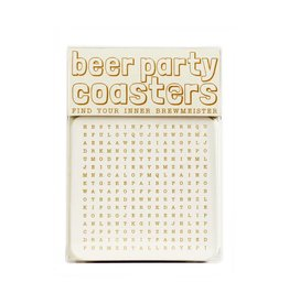 Hat + Wig + Glove Beer Party Word Search Coasters