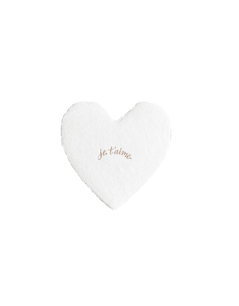 Oblation Papers & Press Je T'aime foiled handmade petite heart in white