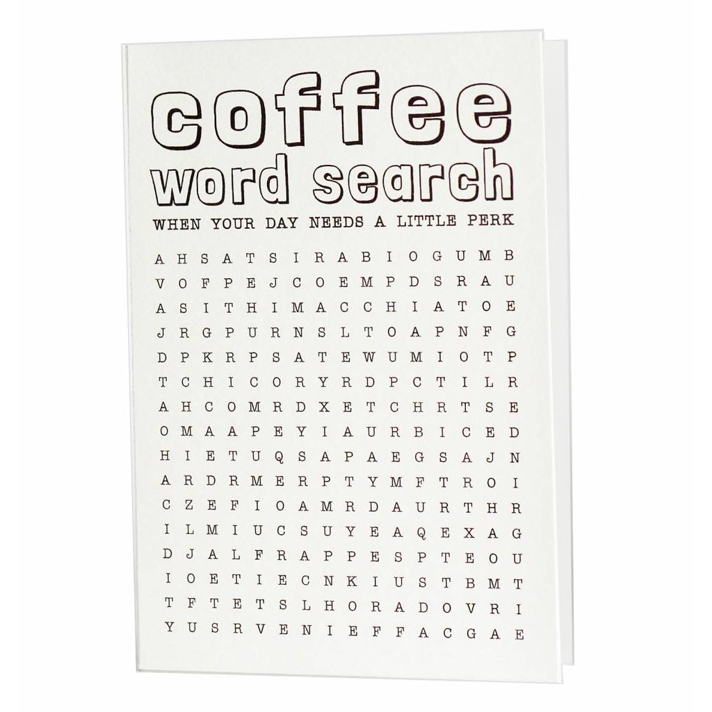 Hat + Wig + Glove Coffee Word Search