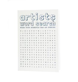 Hat + Wig + Glove Artists word search card