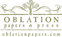 Oblation Papers and Press, letterpress wedding invitations, handmade paper, fine pens and stationery, letterpress greeting cards, correspondence.