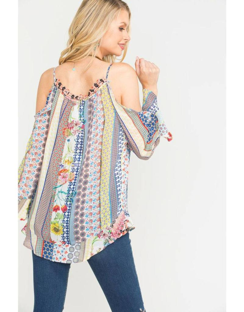 SALE - JOHNNY WAS GARDEN COLD SHOULDER TOP