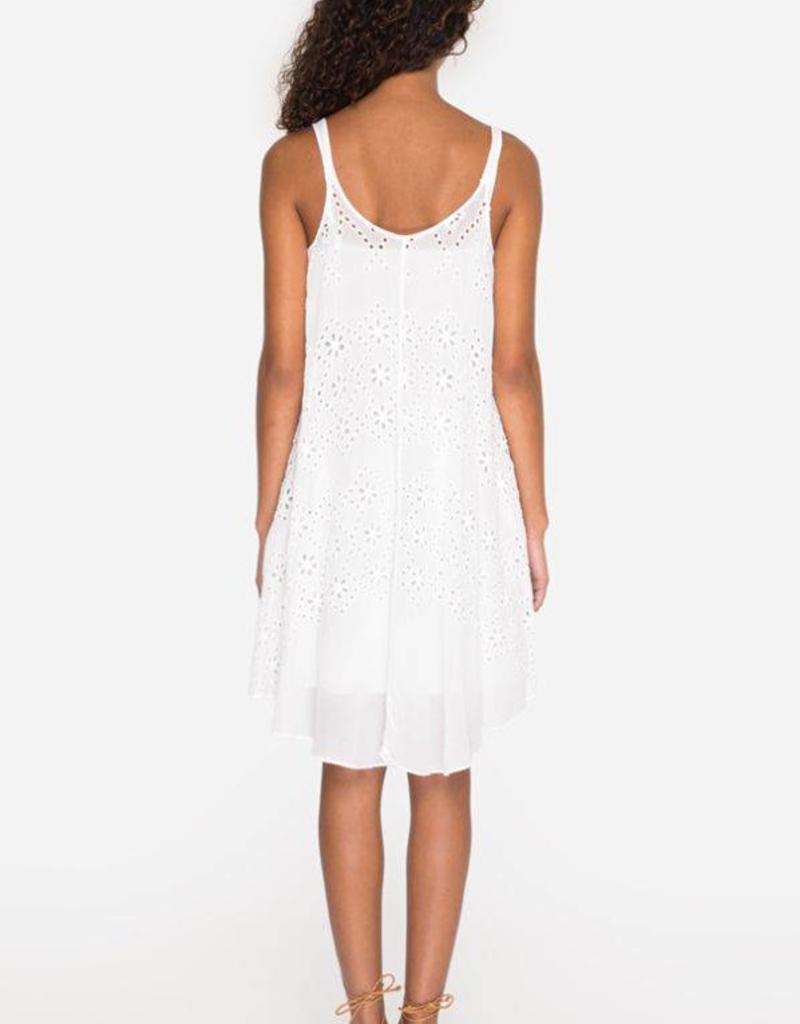 JOHNNY WAS MIXED EYELET DRESS WHITE