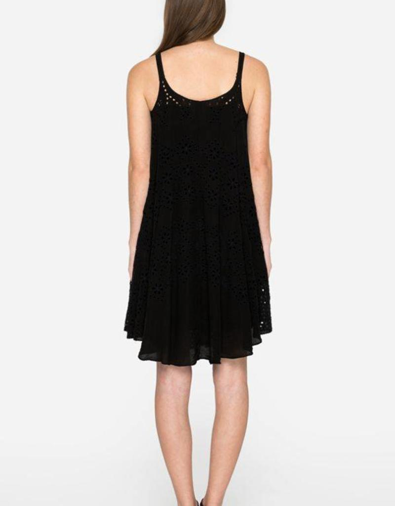 SALE - JOHNNY WAS MIXED EYELET DRESS BLACK