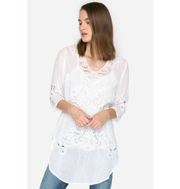 JOHNNY WAS ARLENE APPLIQUE TUNIC WHITE