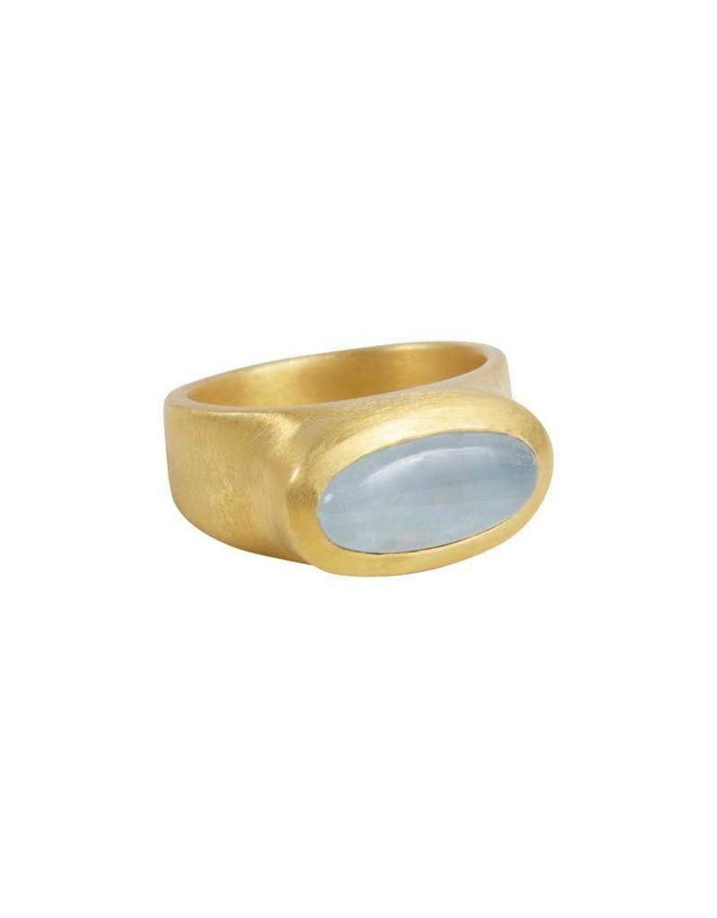 FAIRLEY SAMARA OCEAN AQUA RING GOLD