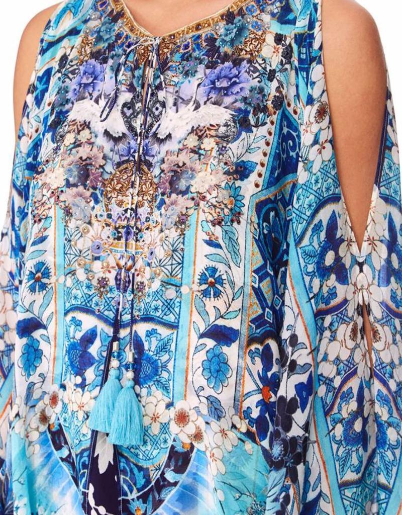 CAMILLA TOKYO TRIBE SHEER LAYERED DRESS W/SPLIT