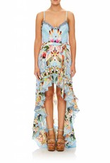 CAMILLA THE STILL ABYSS HIGH LOW BUTTON DOWN DRESS
