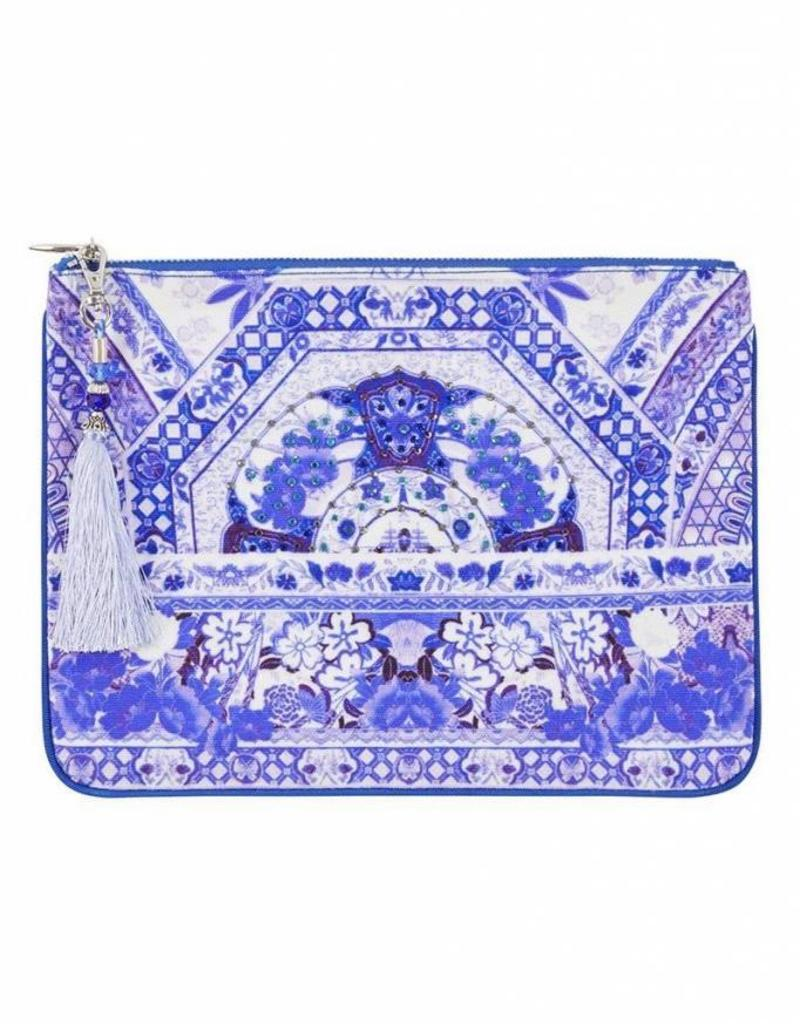 CAMILLA THE FAN SEA SMALL CANVAS CLUTCH