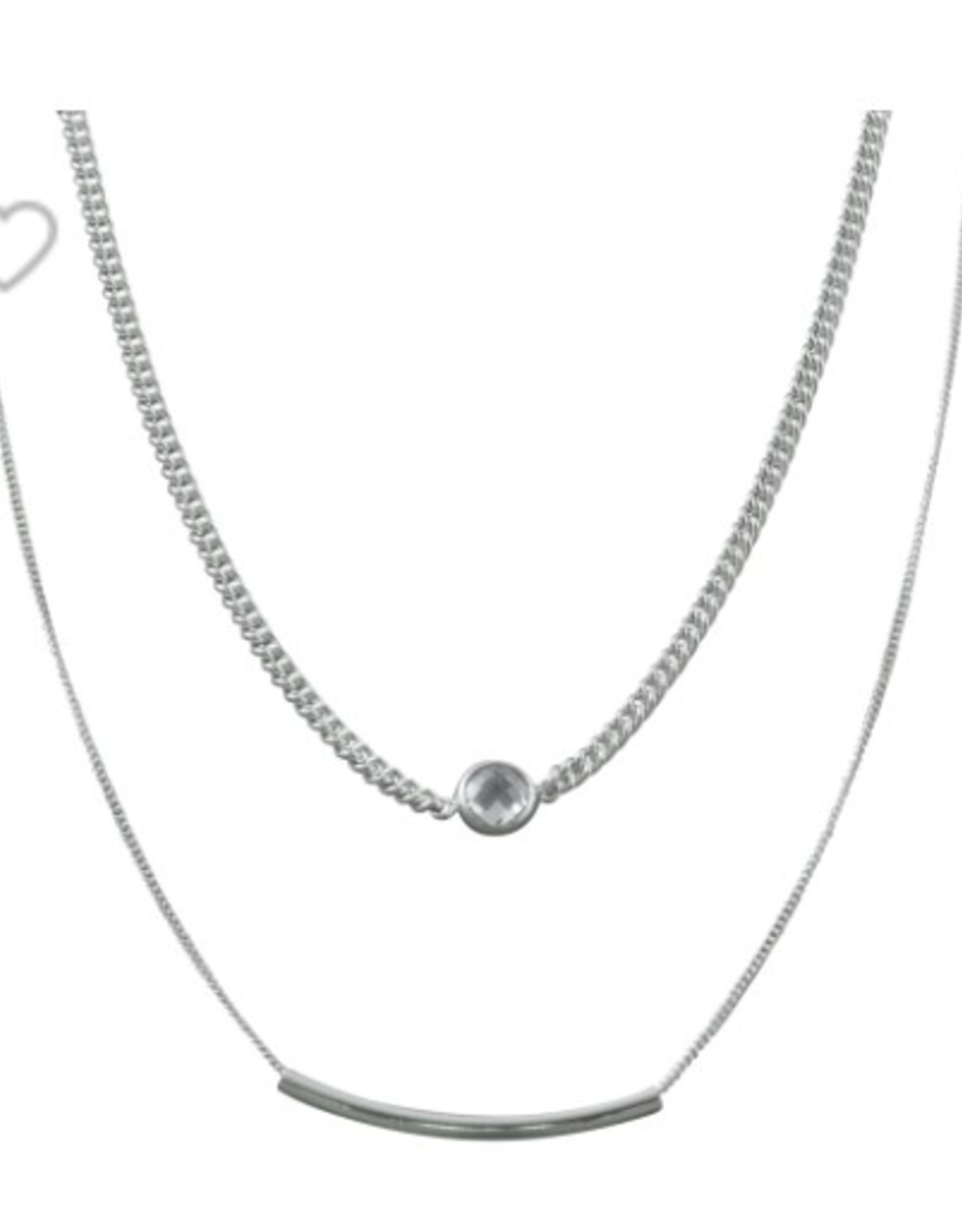 VON TRESKOW DOUBLE CHAIN CHOKER NECKLACE WITH CUBIC ZIRCONIA & BAR
