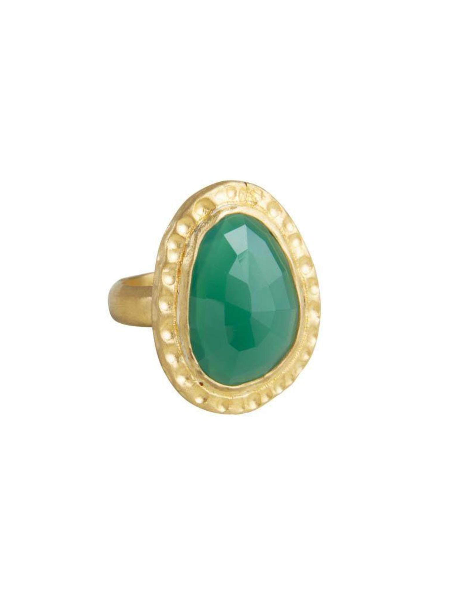 FAIRLEY GREEN AGATE COCKTAIL RING GOLD
