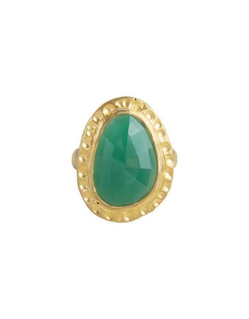 FAIRLEY SAMARA GREEN AGATE COCKTAIL RING GOLD