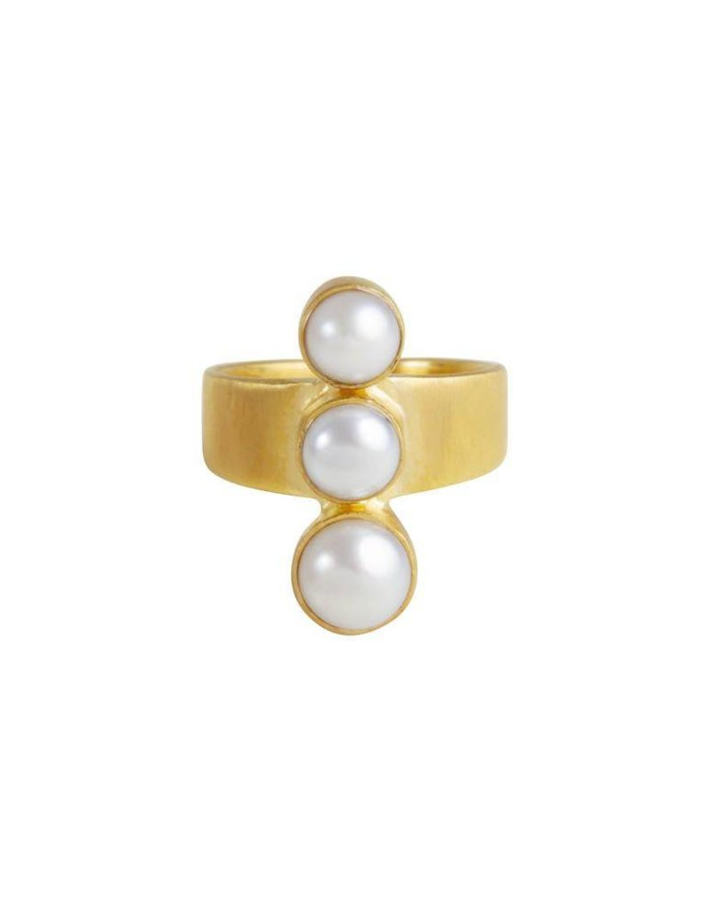 FAIRLEY PEARL CASCADE RING GOLD