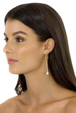 FAIRLEY PEARL PENDULUM EARRINGS GOLD
