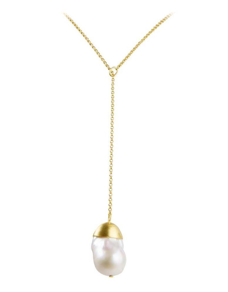 FAIRLEY BAROQUE PEARL PENDANT NECKLACE GOLD