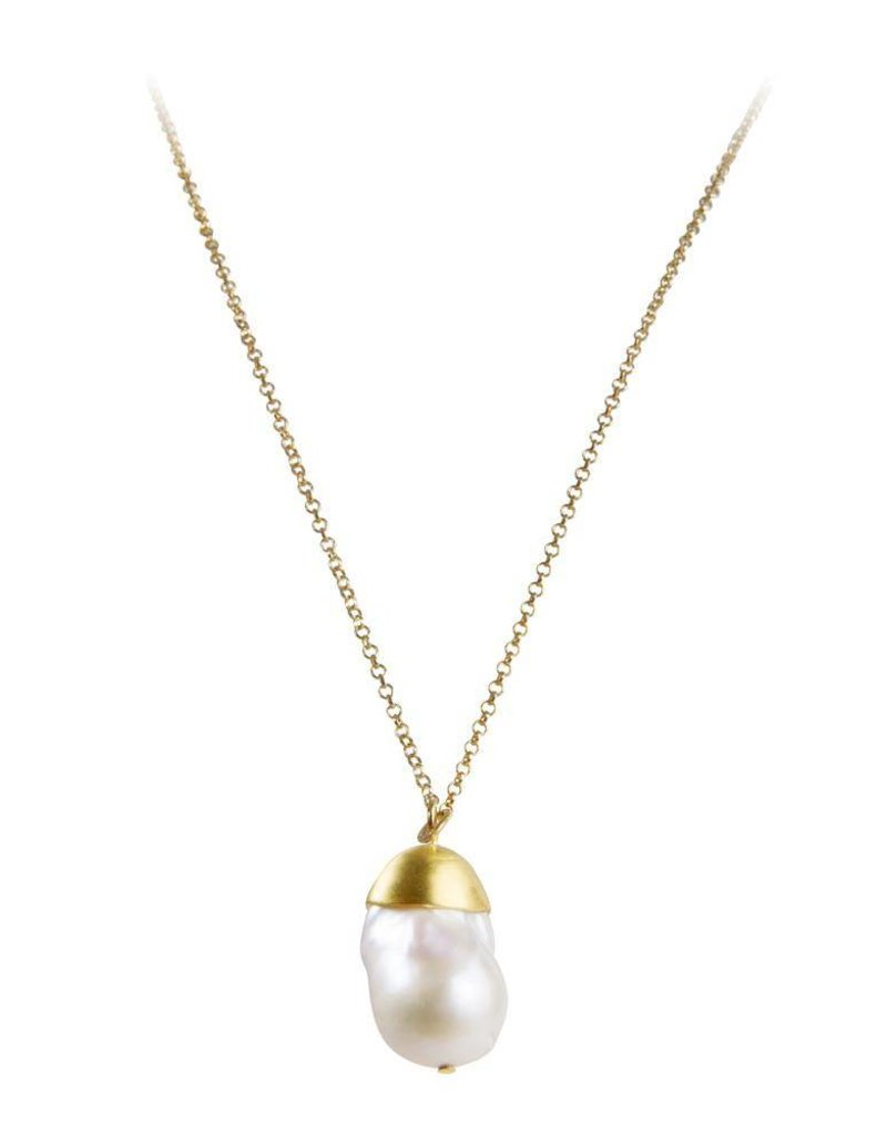 Fairley Baroque Pearl Pendant Necklace Gold Saltwater