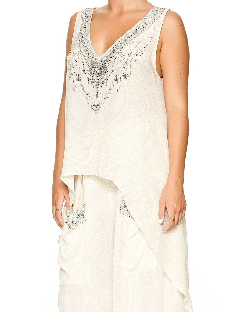 SALE - CAMILLA DENTELLE BLANCHE HIGH LOW CROSS OVERLAY TOP