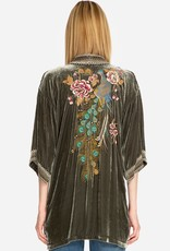 SALE - JOHNNY WAS QUITO VELVET KIMONO HUNTER GREEN