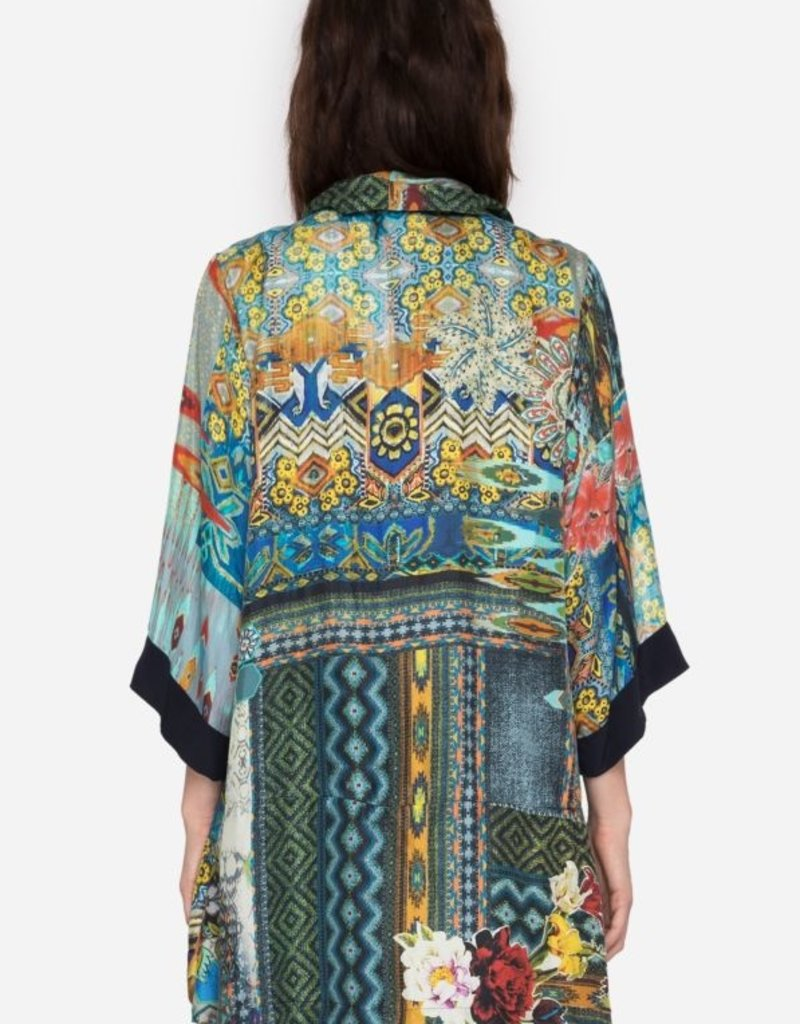 JOHNNY WAS KOBEN CANVAS EMBROIDERED KIMONO