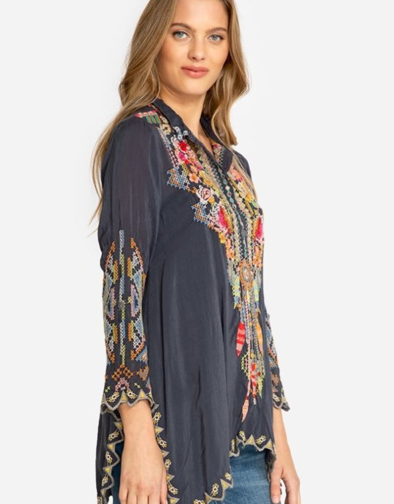 JOHNNY WAS FESTIVAL TUNIC GRAPHITE