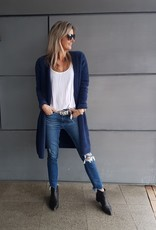 FLUFFY CARDIGAN WITH POCKETS NAVY