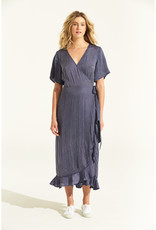 ONESEASON PIPER FRILL WRAP DRESS INDIGO