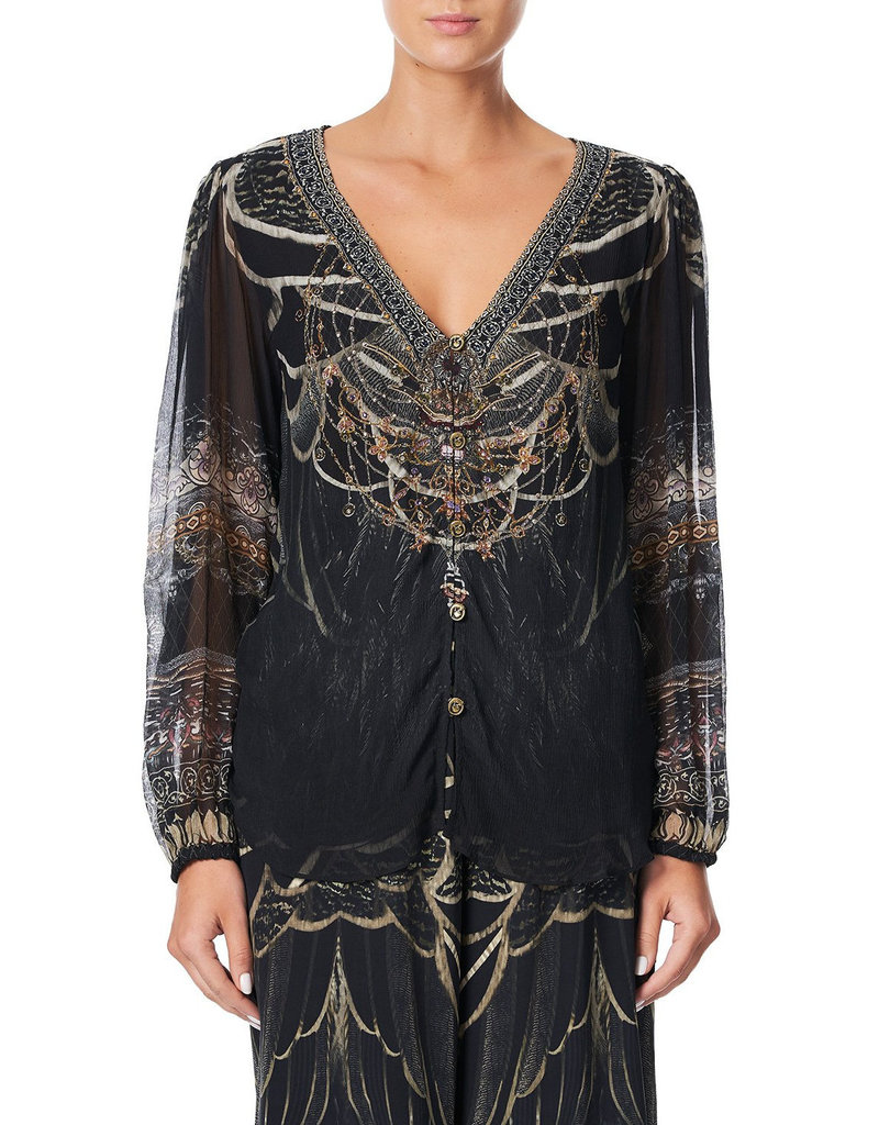 CAMILLA UNDER A FULL MOON LACE UP SIDE BLOUSE