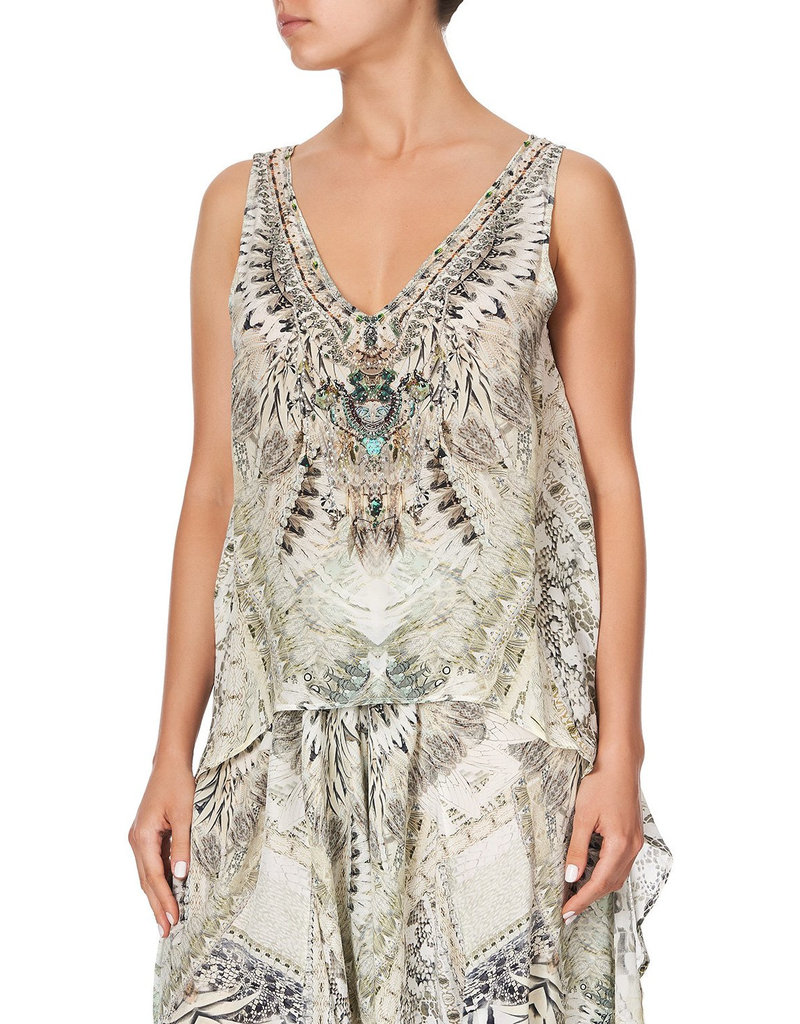 SALE - CAMILLA DAINTREE DREAMING HIGH LOW CROSS OVERLAY TOP