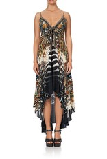 SALE - CAMILLA LOST PARADISE TIE DETAIL HIGH LOW DRESS