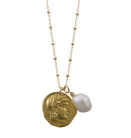VON TRESKOW ROSARIO Y/GOLD NECKLACE WITH ALEXANDER THE GREAT & BAROQUE PEARL