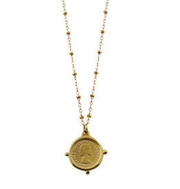 VON TRESKOW Y/GOLD ROSARIO NECKLACE WITH THREEPENCE