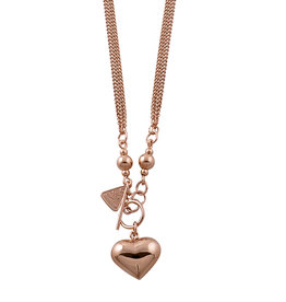 VON TRESKOW R/GOLD FINE DOUBLE CURB NECKLACE WITH HEART