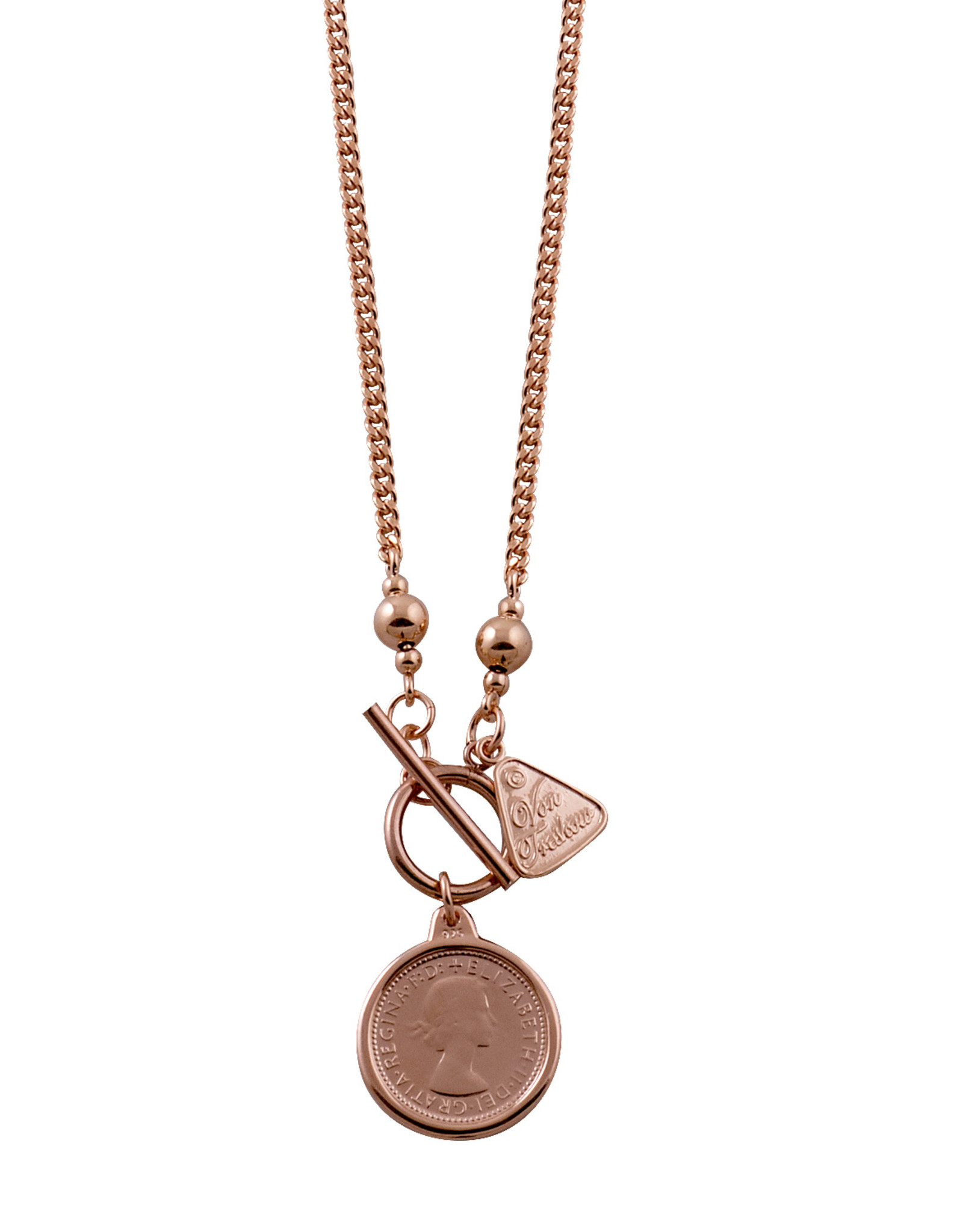 VON TRESKOW R/GOLD CURB NECKLACE WITH SIXPENCE