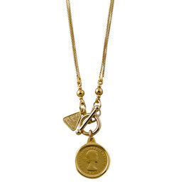 VON TRESKOW Y/GOLD DOUBLE CURB NECKLACE WITH FLORIN