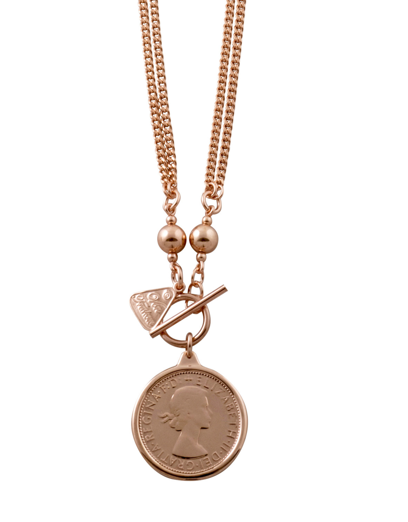 VON TRESKOW R/GOLD DOUBLE CURB NECKLACE WITH FLORIN
