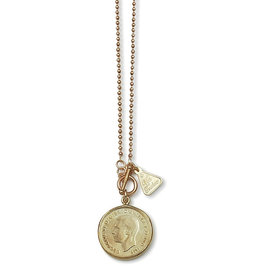 VON TRESKOW BALL CHAIN NECKLACE WITH FLORIN COIN