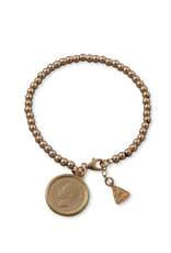 VON TRESKOW Y/GOLD 4MM BALL BRACELET WITH SIXPENCE