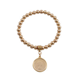 VON TRESKOW Y/GOLD STRETCHY BRACELET WITH SIXPENCE