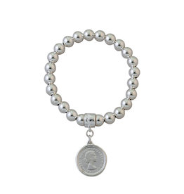 VON TRESKOW SILVER 8MM STRETCHY BRACELET WITH SIXPENCE