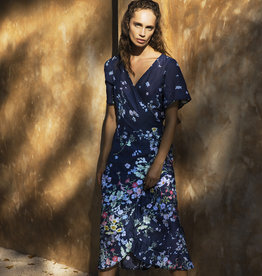 ONESEASON PIPER FRILL WRAP DRESS VENICE NAVY