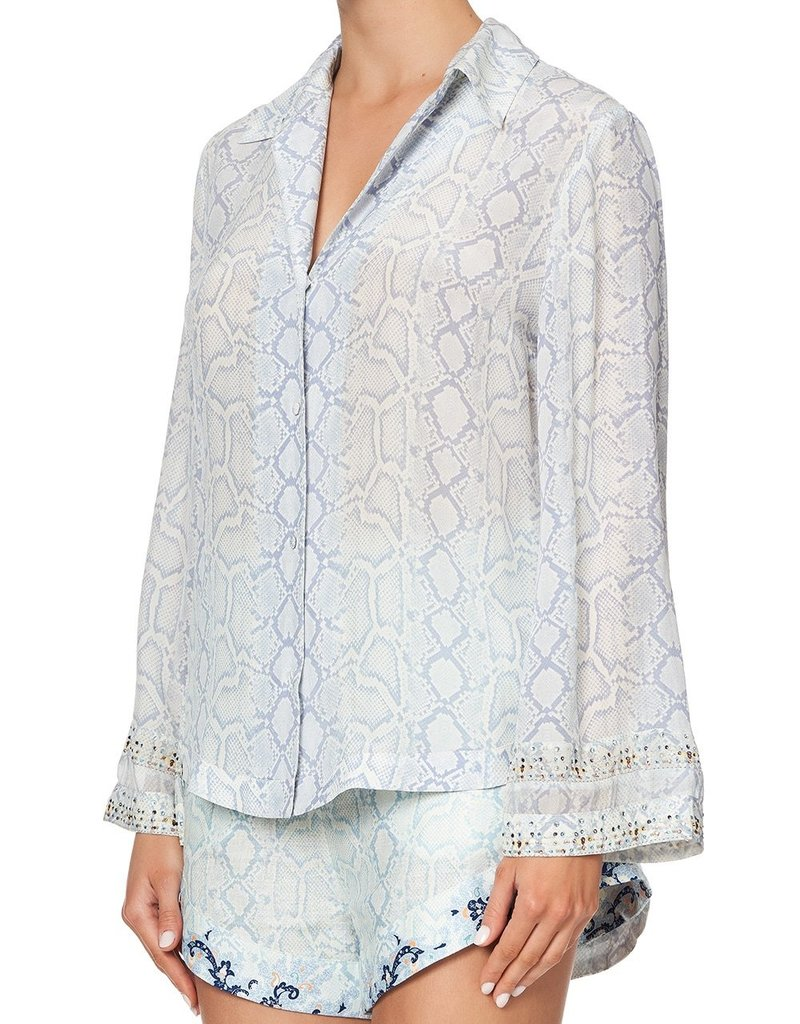 CAMILLA BUSH DIAMOND BUTTON DOWN SHIRT WITH CONTRAST