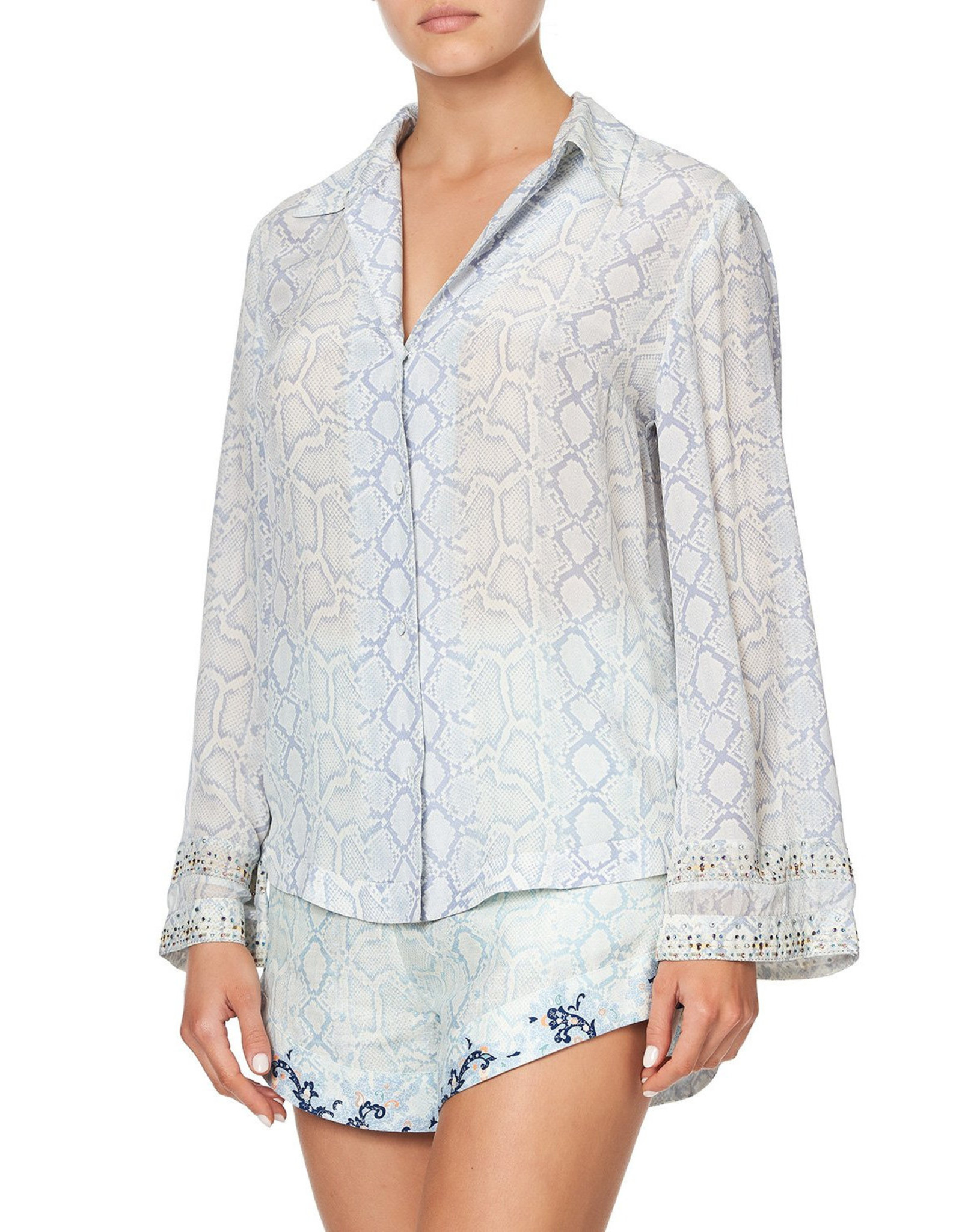SALE - CAMILLA BUSH DIAMOND BUTTON DOWN SHIRT WITH CONTRAST