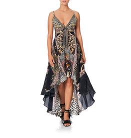 SALE - CAMILLA MARAIS AT MIDNIGHT TIE DETAIL HIGH LOW DRESS