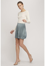 SILK LAUNDRY LONG SLEEVED RIBBED TOP WHITE
