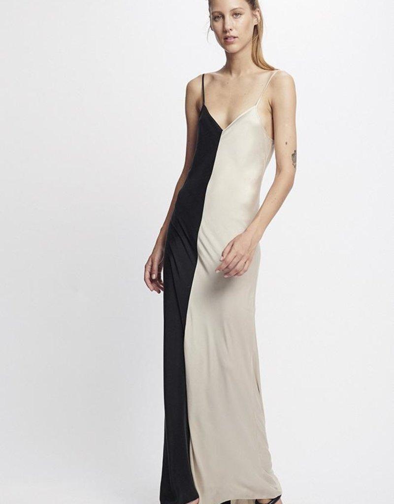 SILK LAUNDRY TWO TONE DRESS HAZELNUT/BLACK